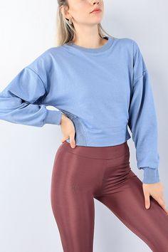 Mavi Beli Lastikli Bayan Crop Sweat 75185 | ModamızBir | Modamizbir.Com