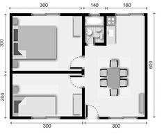 prefabricated houses of 30 mts. Studio Apartment Floor Plans, Studio Apartment Layout, Apartment Plans, Small Apartment Design, Small House Design, Little House Plans, Small House Floor Plans, My House Plans, House Construction Plan