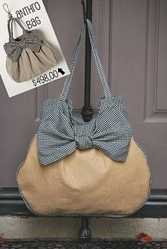 This is a DIY knock off of a Anthro handbag that originally would sell for $498.00.  This site has a tutorial for making your own for much less.  Great idea I think.