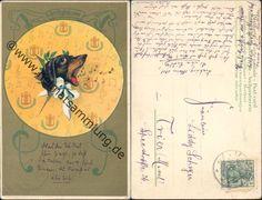 Postcard - singing dachshund head