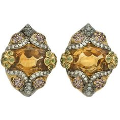 Preowned Citrine Gem Set Gold Earclips ($4,800) ❤ liked on Polyvore featuring jewelry, multiple, 18k jewelry, gem jewelry, multi colored jewelry, yellow gold jewelry and gemstone jewelry