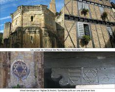 Abbaye Ste Marie/ maison de Nostradamues/ Eglise de Saint André, symboles juifs, Alet les Bains