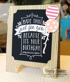 Chalkboard Easel Card - Simple With Decorative Label Punch