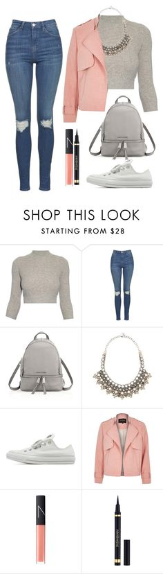 """Sans titre #612"" by maevaxstyle ❤ liked on Polyvore featuring Alexander McQueen, Topshop, MICHAEL Michael Kors, Valentino, Converse, River Island, NARS Cosmetics and Yves Saint Laurent"