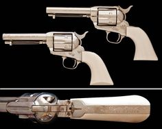 The Lone Ranger's Guns - Colt Single Action Army Revolvers owned by actor Clayton Moore who played the Masked Man on TV and in movies from 1949 to 1958. These were custom made with no front sights.