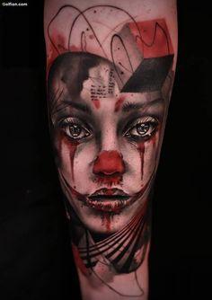 Most Amazing Girl Face Tattoo Design Made On Men Forearm Skull Girl Tattoo, Girl Face Tattoo, Clown Tattoo, Face Tattoos, Leg Tattoos, Sleeve Tattoos, Tatoos, Medusa Tattoo, Small Chest Tattoos