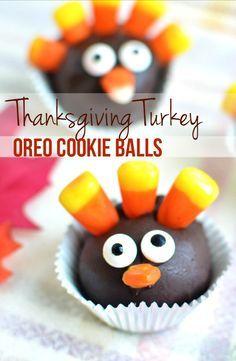 Thanksgiving Turkey Oreo Cookie Balls Dessert Recipe - So Cute and Easy to Make!