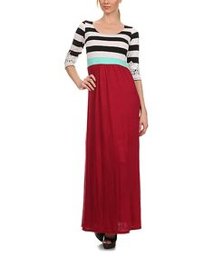 Look at this #zulilyfind! J-Mode USA Los Angeles Red & White Stripe Lace-Cuff Maxi Dress by J-Mode USA Los Angeles #zulilyfinds