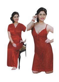 Indiatrendzs Women Red Nighty With Robe Satin Net Transparent Short Night  Dress  nighty  womens 4d4c73eb3