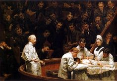 The Agnew Clinic, Thomas Eakins,1889. Thomas Eakins used the principle of isolation to emphasize the man on the left isolating him from the group of doctors on the right. We can also see the work with the contrast when Eakins separated the group of doctors from the audience using sharp lighting and shading.