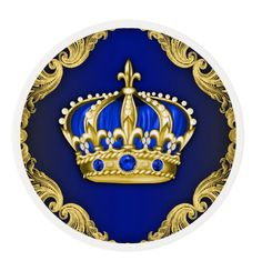 Royal Blue and Gold Prince Cupcake edible frosting rounds...