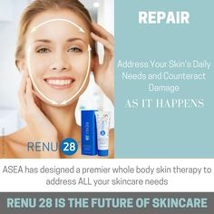 RENU 28 encourages the strength and resiliency of your skin cell reproduction in partnership with your body's natural efforts to keep your skin healthy.  The one and only natural topical gel of it's kind that has real anti-aging benefits. http://newhealth4u.teamasea.com/newsite/ #Newhealth4U
