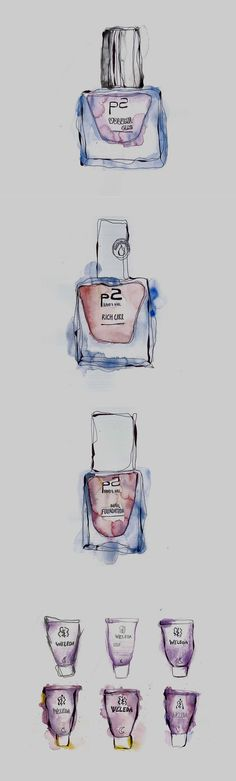 Watercolor Illustration. #water #color #illustration #cosmetics