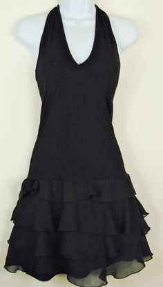Womens XS Black Stretch Bodycon Halter Prom Cocktail Dress Sheer Tier Ruffle  #Unknown #Bodycon #Cocktail