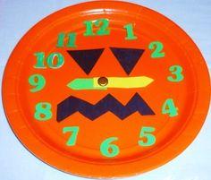 Learning Ideas - Grades K-8: Making Paper Plate Pumpkin + Jack O' Lantern Clocks