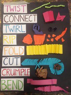 Paper Sculpture Thing-a-ma-jigs : Paper Sculpture Thing-a-ma-jigs Kindergarten Art, Preschool Art, Sculpture Lessons, Sculpture Ideas, Sculpture Art, Art Room Posters, Art Classroom Management, 2nd Grade Art, 3d Studio