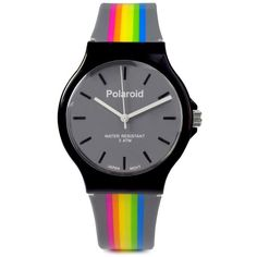 Polaroid Rubber Strap Watch, 35Mm (£19) ❤ liked on Polyvore featuring jewelry, watches, grey, rainbow jewelry, charm watches, grey watches, gray watches and charm jewelry