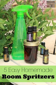 These five simple room spritzers are a wonderful way to quickly freshen up a room, even if you don't own a diffuser. Just mix up and spray to your heart's content! / http://www.theprairiehomestead.com/2013/06/homemade-air-fresheners.html