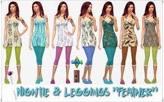"""Annett`s Sims 4 Welt: Nightie & Leggings & Slipper """"Feather"""" • Sims 4 Downloads"""
