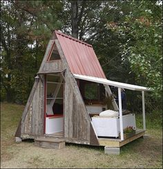 Tiny, AFFORDABLE, EASY and QUICK to build A-frame, can be easily altered. The total cost around $1200. Add in some salvaged, free, or recycled materials, and you could EASILY build this for under $1000. The plans also recommend, and explain, some other versions, or changes that could be made, so as to include more space, a bathroom, a larger loft, an easy addition or extension. Purchase Plans $29.95.
