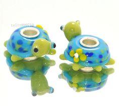 1 glass turtle European charm bead - animal tortoise green blue lampwork cute