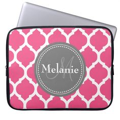 Monogrammed Bright Pink & Grey Quatrefoil Laptop Sleeves. get it on : http://www.zazzle.com/monogrammed_bright_pink_grey_quatrefoil_laptop_sleeve-124903215354403484?rf=238054403704815742