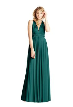 Brides.com: . Classic ballgown with Grecian twist middle back in emerald, $310, Twobirds