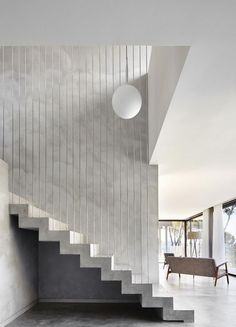 Concrete staircase with wired railing