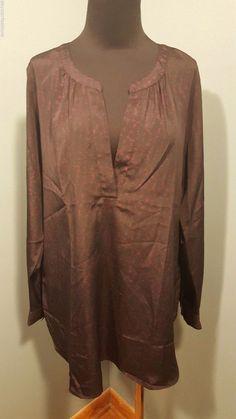 Ann Taylor Black Purple Printed Satin Long Sleeve Tunic Dress Blouse Top S #AnnTaylor #Tunic #Dress #daystarfashions $16 FREE SHIP