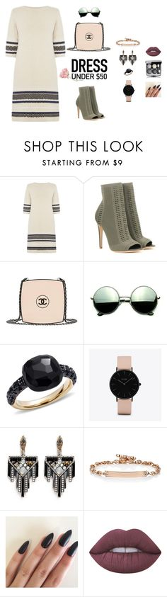 """'Chanel' your inner tomboy"" by ruhia-sadiq on Polyvore featuring Warehouse, Gianvito Rossi, Chanel, Revo, Pomellato, CLUSE, Lulu Frost, Hoorsenbuhs, Lime Crime and Dressunder50"