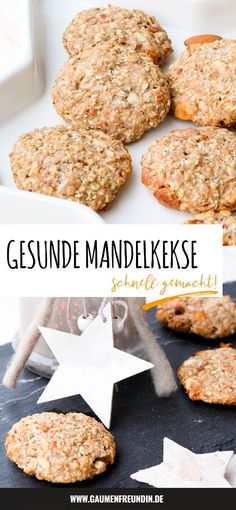 Gesunde Kekse mit Mandeln und Ahornsirup - Genuss ohne Reue Healthy almond cookies with banana, mapl Healthy Cookies, Healthy Dessert Recipes, Vegan Recipes Easy, Healthy Biscuits, Healthy Christmas Cookies, Bon Dessert, Almond Cookies, Stuffed Peppers, Food