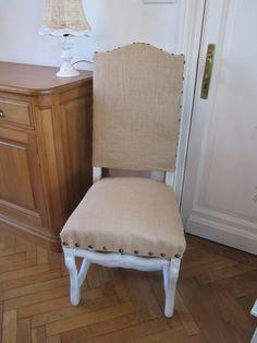 chaise ancienne relookée avec de la toile de jute
