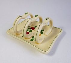 Very dainty small ceramic toast rack 1920s hand by MaisonMaudie