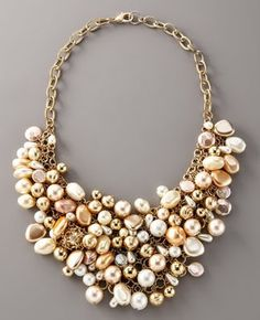 Sparkling Mode: Fragments pearl cluster bib necklace and bracelet