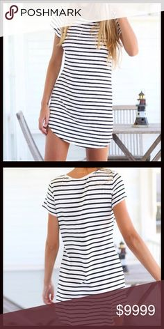COMING SOON 🖤 Striped T-Shirt Dress A classic summer staple. T- shirt dresses are the perfect throw and go wardrobe must have. Black and white striped O-neck with short sleeves. Pre-order and save 10%. Priced at $34. Measurements to follow. Dresses Mini