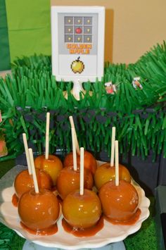 Golden apples at a Minecraft Birthday Party!  See more party ideas at CatchMyParty.com!