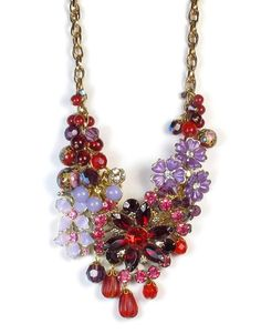 Flower Statement Necklace In Red and Purple, Repurposed Jewelry on Etsy, $118.00