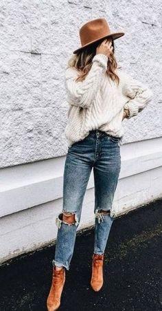 Fashion boho casual moda ideas for 2019 - Trendige Outfits Fall Fashion Outfits, Fall Fashion Trends, Casual Fall Outfits, Latest Fashion Trends, Boho Fashion, Autumn Fashion, Womens Fashion, Sweater Fashion, Sweater Hat