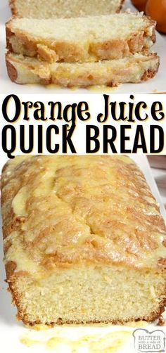 ORANGE JUICE BREAD – Butter with a Side of Bread Orange Juice Bread is a delicious quick bread recipe made with orange juice! This delicious bread is easy to make and has the most amazing orange flavor, especially with the simple orange glaze on top. Quick Bread Recipes, Bread Machine Recipes, Banana Bread Recipes, Baking Recipes, Quick And Easy Recipes, Juice Recipes, Top Recipes, Healthy Dessert Recipes, Sweet Recipes