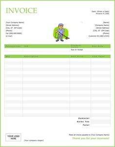 Printable Cleaning Service Receipts Cleaning Invoice Template - Free invoices download for service business