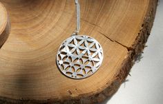 Silver Necklace Flower Of Life Necklace Yin Yang Pendant Sacred Geometry Kabbalah Necklace Occult Necklace Free Shipping