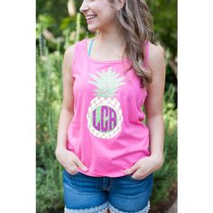 Monogrammed Tank Top With Pineapple Glitter and Sparkle Monogrammed... ($18) ❤ liked on Polyvore featuring tops, aqua, tanks, women's clothing, party shirts, sparkly shirts, sparkly tank top, beach shirts and pink tank top