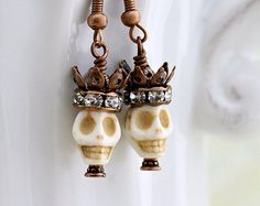 Halloween Earring for men Day of the Dead by ElainaLouiseStudios