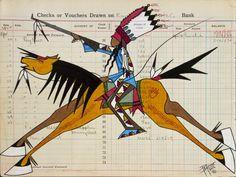 John Pepion ledger art, Young Blackfeet Warrior, 2014.