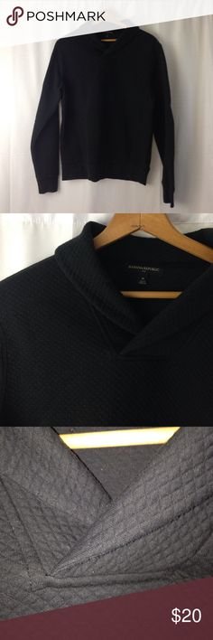 Banana Republic Mens shawl neck sweater Banana republic Mens shawl neck sweatshirt. Small quilted detail. Heavyweight. Black. Size medium. Banana Republic Shirts Sweatshirts & Hoodies