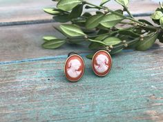 Beautiful Vintage Salmon and Gold Colored Cameo Clip Earrings 1940s $14