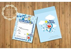 Resultat d'imatges de doraemon invitation card Doraemon, Gaston, Invitation Cards, Happy Birthday, Parties, Printables, Ideas, Invitations, Happy Brithday