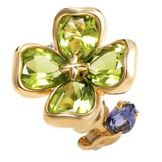 Chanel Iolite Peridot Gold Flower Ring | From a unique collection of vintage cocktail rings at https://www.1stdibs.com/jewelry/rings/cocktail-rings/