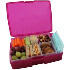 Lunch Box Leakproof Translucent Raspberry Bento Box with 5 Blue Containers USA Made