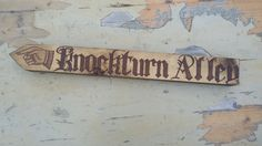 Knockturn Alley Harry Potter Rustic Sign Handmade Pyrography Wood Burning Direction Diagon Alley Finger Point Interior Exterior Use Wedding